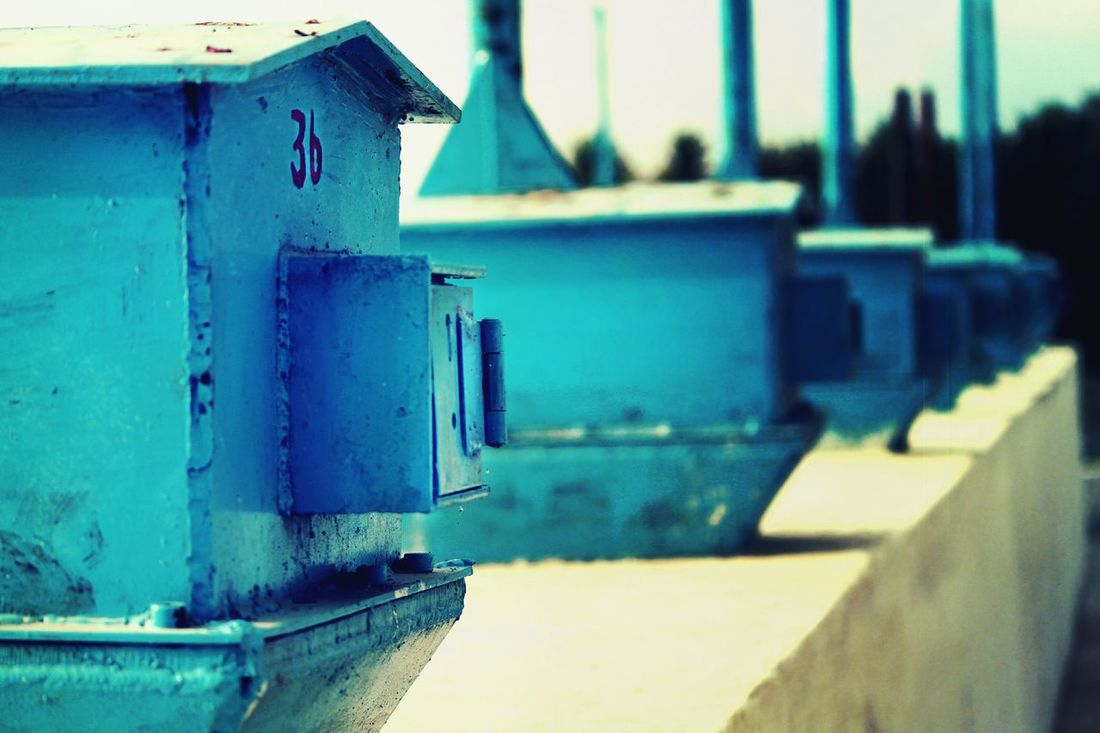 Focus On Foreground Close-up Blue In A Row Blue Love Evening Click 36 Mini Blue House Weathered