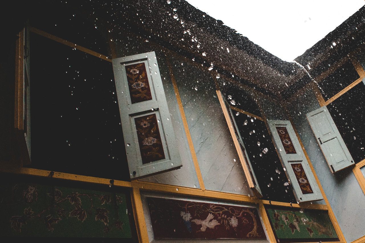 Day Heavy Rain House No People Outdoors Raining Roof Water Falling Wooden House