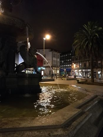 Praça dos leões Night Water Outdoors Illuminated City Travel Destinations City Purist No Edit No Filter Porto Portugal 🇵🇹 Porto Travel Portugal Vacations Built Structure Building Exterior Architecture Street Light