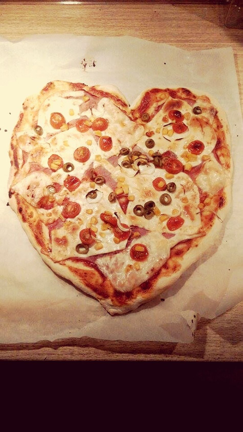 Baking Pizza With My Dearest Honey Valentines Gift Heart Pizza Again we love each other so much ♡