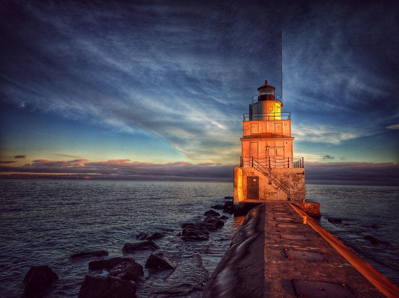 Sky Lighthouse Architecture Tower Building Exterior Sea Built Structure No People Scenics Illuminated Night Water Sunset Outdoors Nature Coastline Dramatic Sky Wisconsin Lake Michigan Lakeshore