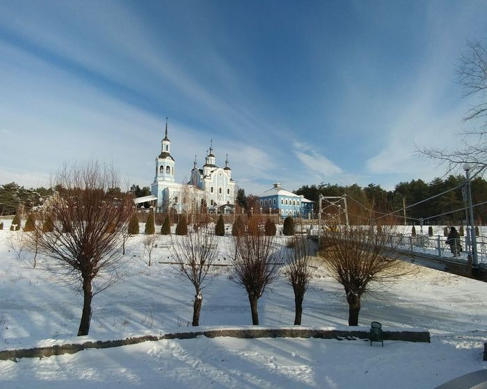 Tree Snow Cold Temperature Sky Winter Outdoors Architecture Church Temple Bridge Construction Cold Sky And Clouds Skyline Sky And Trees Sky_collection