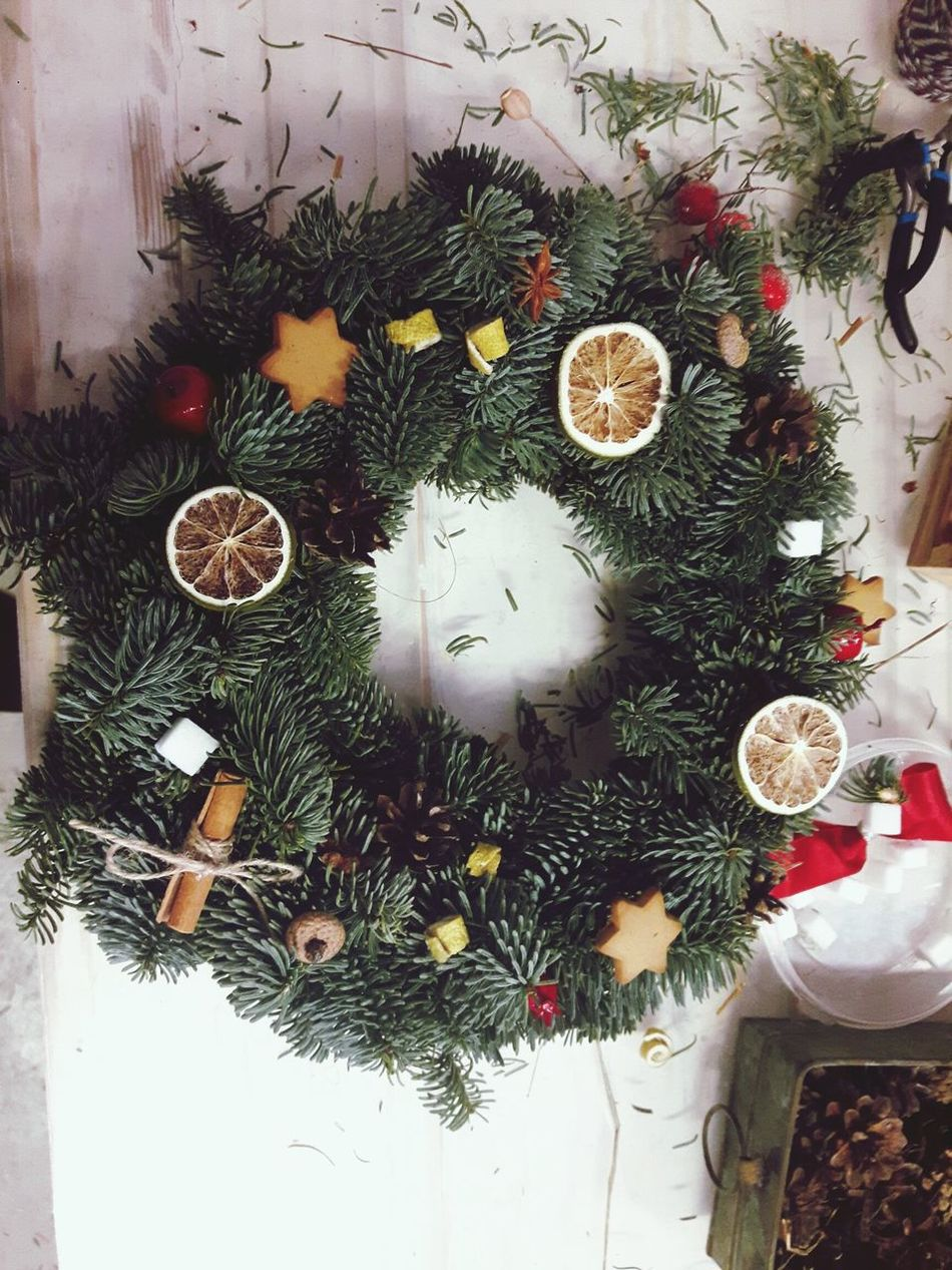 Handmade wreath for our home! Christmas Indoors  High Angle View Christmas Decoration No People Celebration Close-up Christmas Tree Backgrounds Christmas Ornament Day Wreath Lime Cinamonroll Cherry Cone Flower