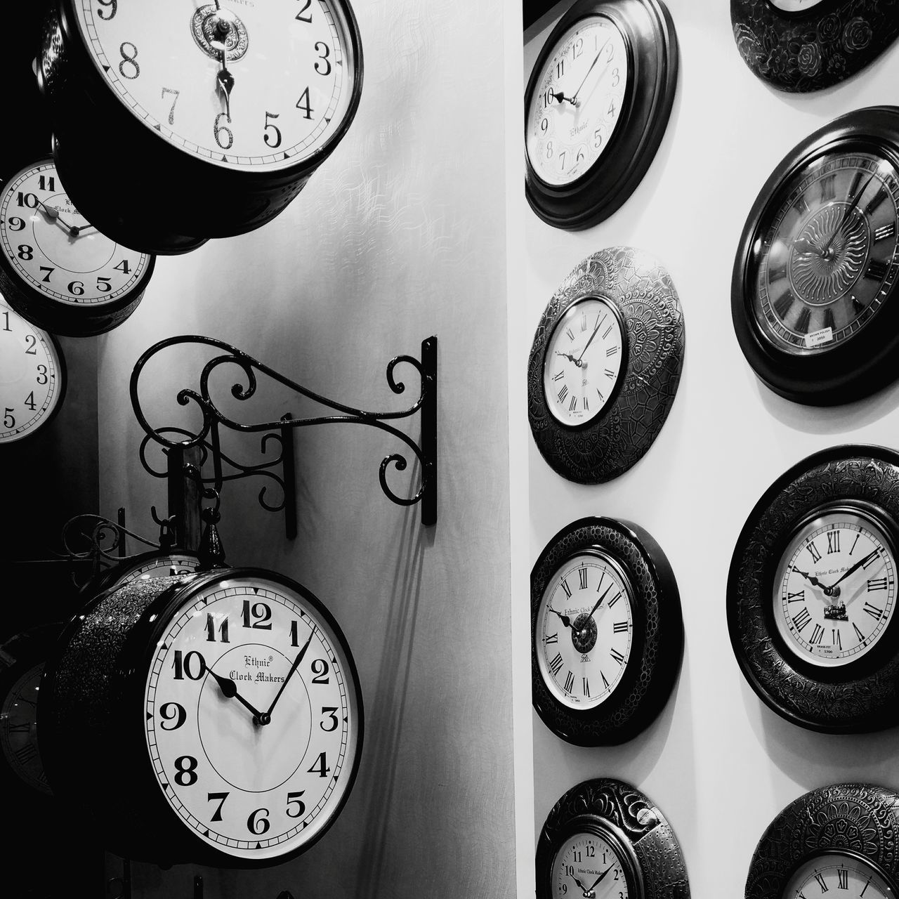 clock, indoors, no people, time, variation, large group of objects, hanging, close-up, pressure gauge, clock face, gauge, day, minute hand