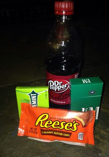 My Drug of Choice Red Drink Text Indoors  No People Close-up Dr Pepper Double Mint Gum L&M Cigarettes Reeses PeanutButter Cups