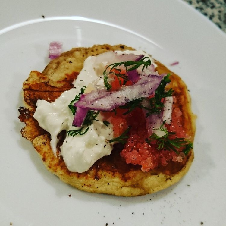 Trying out blinis .. Plate Food And Drink Food Ready-to-eat Serving Size Healthy Eating Freshness No People Meat Indoors  Close-up Toasted Bread Day Blinis