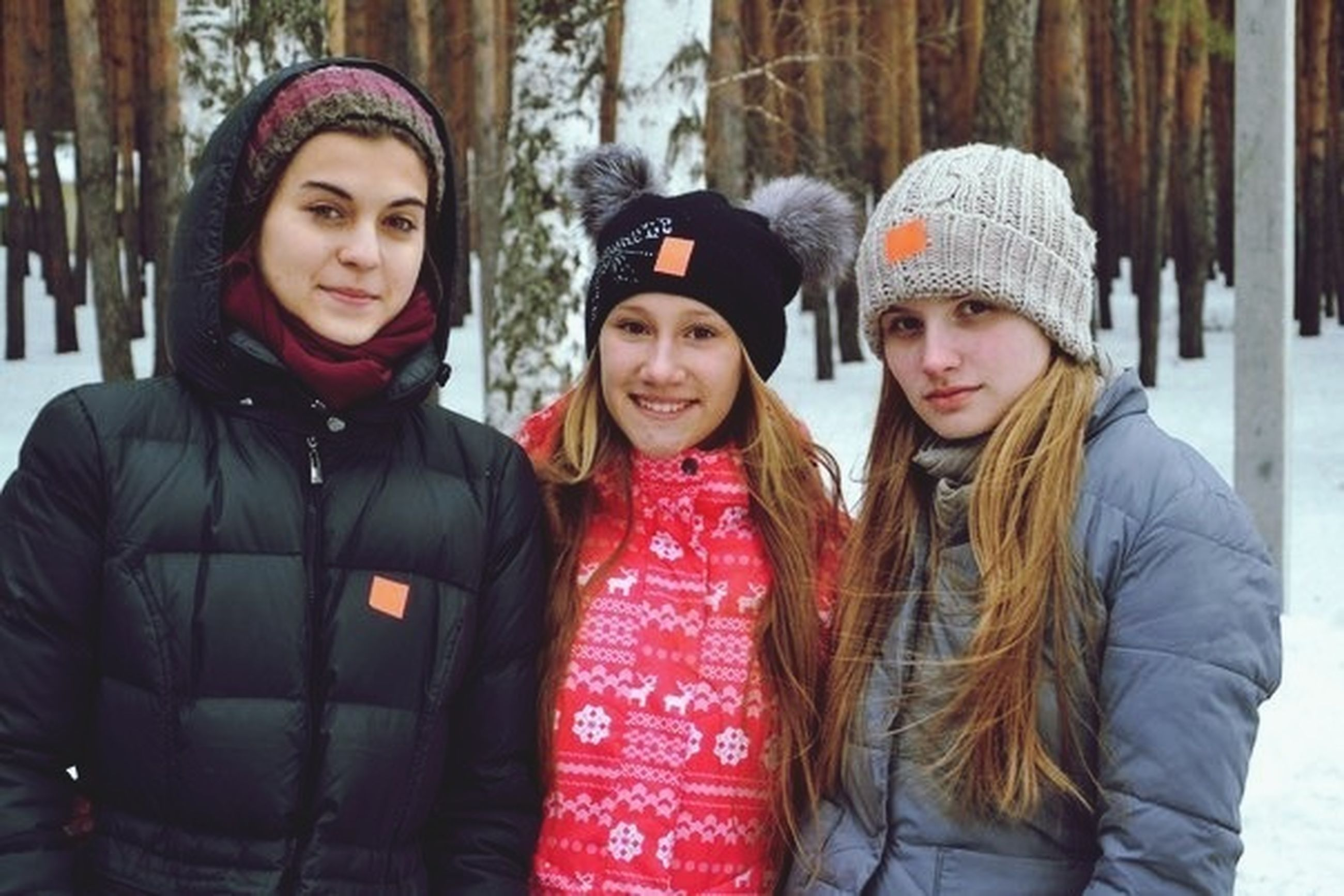 togetherness, lifestyles, portrait, looking at camera, person, bonding, leisure activity, smiling, front view, casual clothing, happiness, love, warm clothing, young adult, friendship, winter, young women, standing