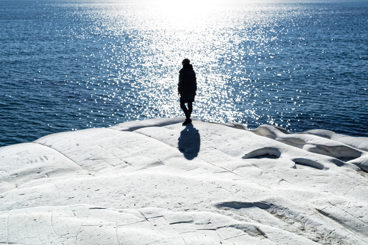Adult Adults Only Beach Beauty In Nature Day EyeEmNewHere Horizon Over Water Italia Italy Nature One Person Outdoors People Real People Scala Dei Turchi Sea Shadow Sicilia Sicily Sicily, Italy Sky Standing Sunlight Water