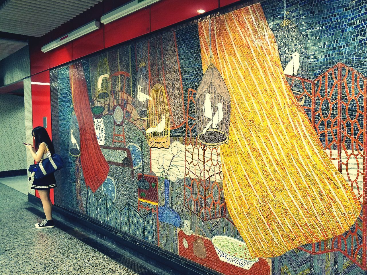 Streetphotography Art ArtWork Mosaic Subway Station One Person Waiting ... Colour Of Life Explore The World EyeEm Best Shots Taking Photos Picofday Pictureoftheday
