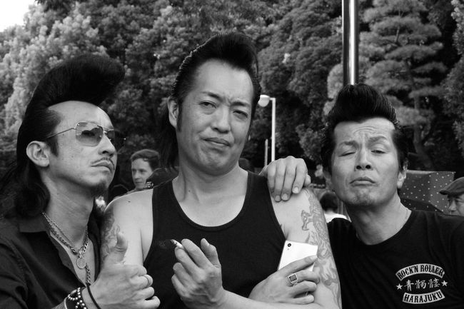 A group of Rockabilly men posing together after dancing. Yoyogi Park, Tokyo, Japan. Blackandwhite Elvis Enjoyment Facial Expression Focus On Foreground Front View Fun Headshot Japan Lifestyles Looking At Camera Person Photojournalism Portrait Rockabilly Streetphotography Tokyo