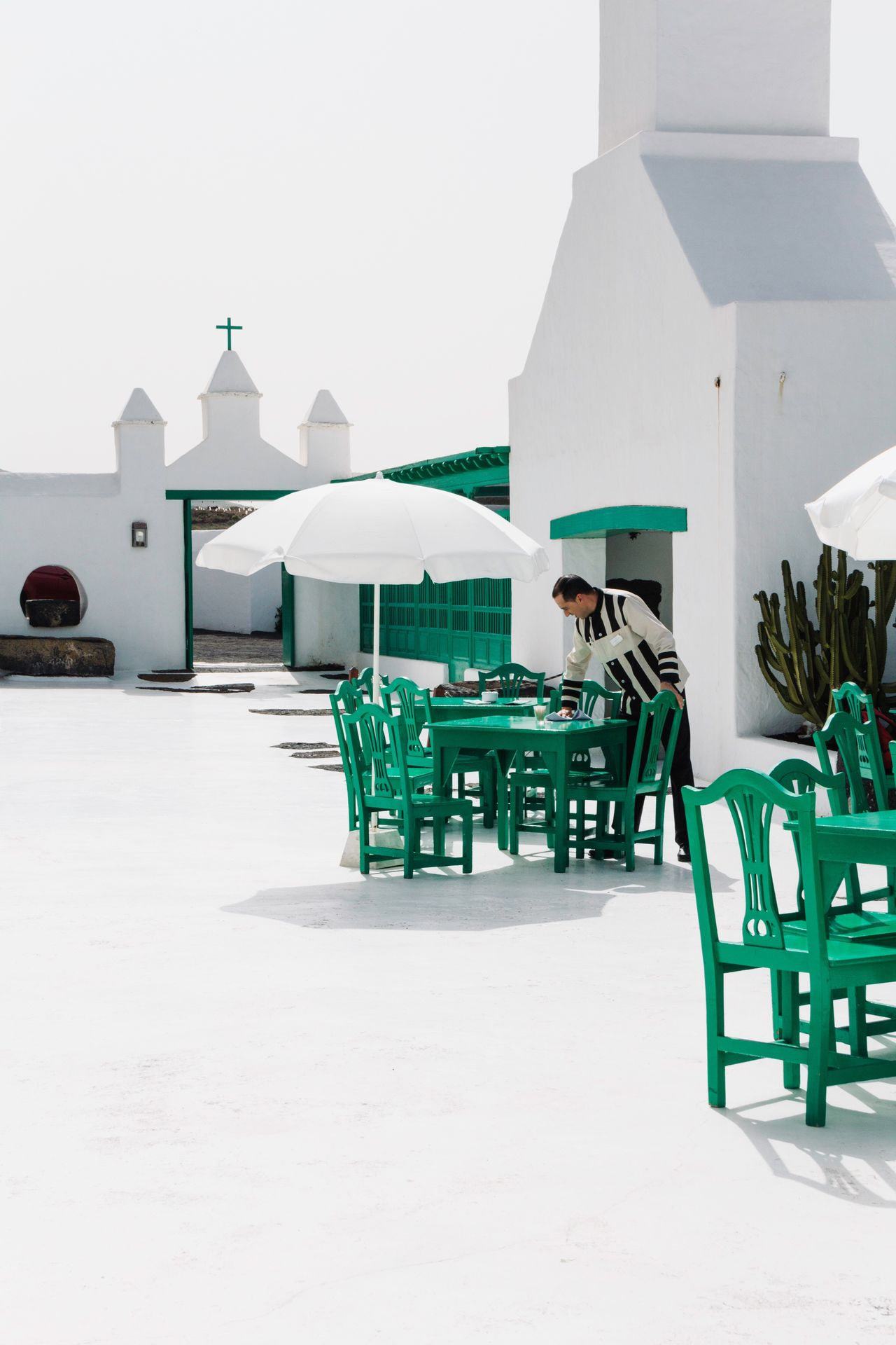 Green Color Architecture Chair Modern Day Outdoors White Lanzarote Terrace Cesar Manrique Traditional Waiter Casa Del Campesino Canary Islands SPAIN Travel Destinations Travel Photography The Street Photographer