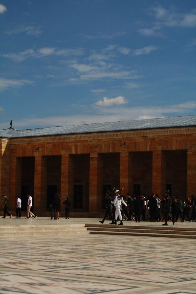 Architecture Built Structure Building Exterior History Façade Art Men In Front Of Art And Craft Architectural Column Anıtkabir Famous Place Sky Person City Tourism The Past Travel Destinations Day Outdoors Historic