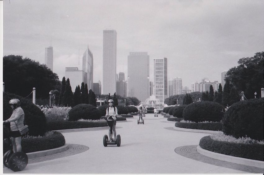 Segway Circuit, Millenium Park 2016 Streetphotography Street Photography Streetphotography_bw Black And White Blackandwhite Monochrome Photography Chicago Millenium Park EyeEm Awards 2016 Street Photographer-2016 Eyem Awards Kentmere Kentmere400