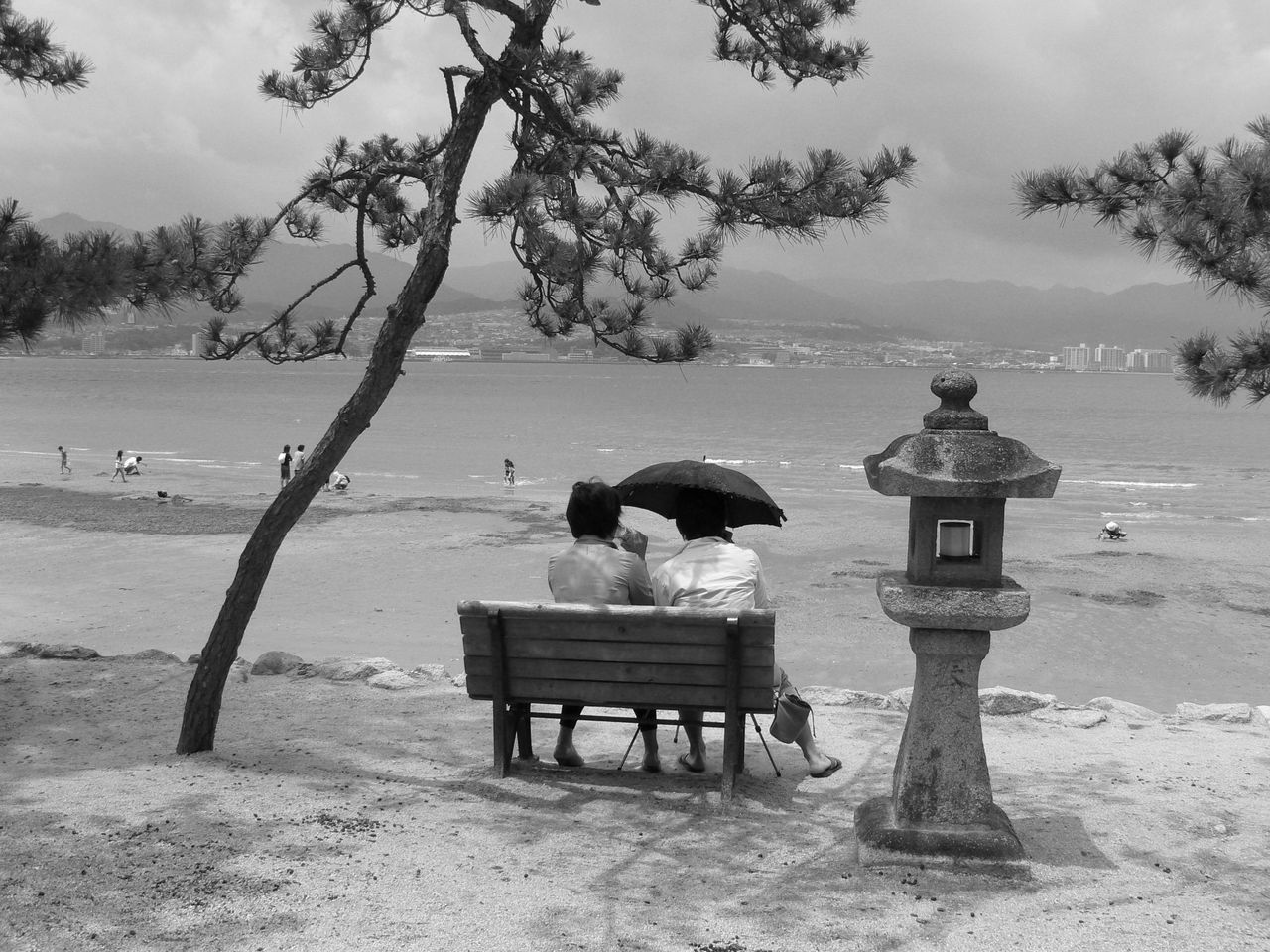Beach Black And White Photography Couple Idyllic Pine Tree Relaxation Stone Lanterns Tranquil Scene Tranquility Travel Destinations Tree Umbrella Water