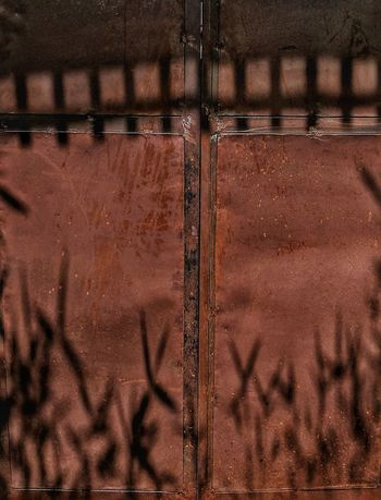Full Frame Backgrounds No People Brown Day Outdoors Metal Oxidation Metal Door Pattern Textured