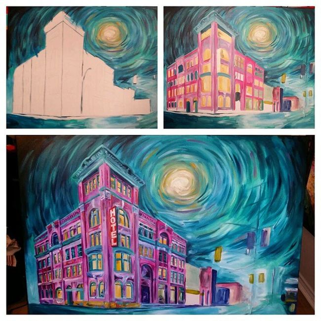 Layering colors in the works. Gladstone /Queen intersection. Workinprogress Caseyoneillart