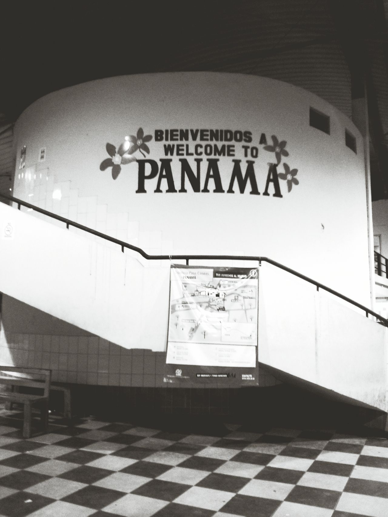 Welcome To Panama. · Bienvenidos Welcome Panamá Sign Border Border Crossing Blackandwhite Monochrome