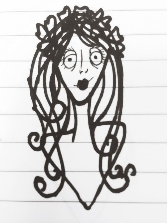 "I really LOVE Tim Burton's character ""style"" and that inspires my drawing. Tim Burton Style Drawing Corpse Bride  Doodle"