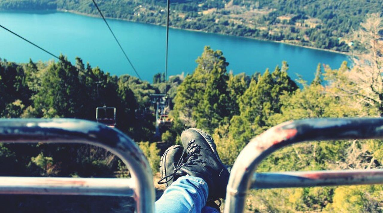 Teleferic in Cerro Campanario, Bariloche/AR - backpacking through Patagonia NahuelHuapi Bariloche Argentina Personal Perspective Patagonia Mochileiros CanonT5i Mochilão Backpacker Outdoors Nature Lifestyles Mountain Railing Tranquil Scene Young Adult Colors
