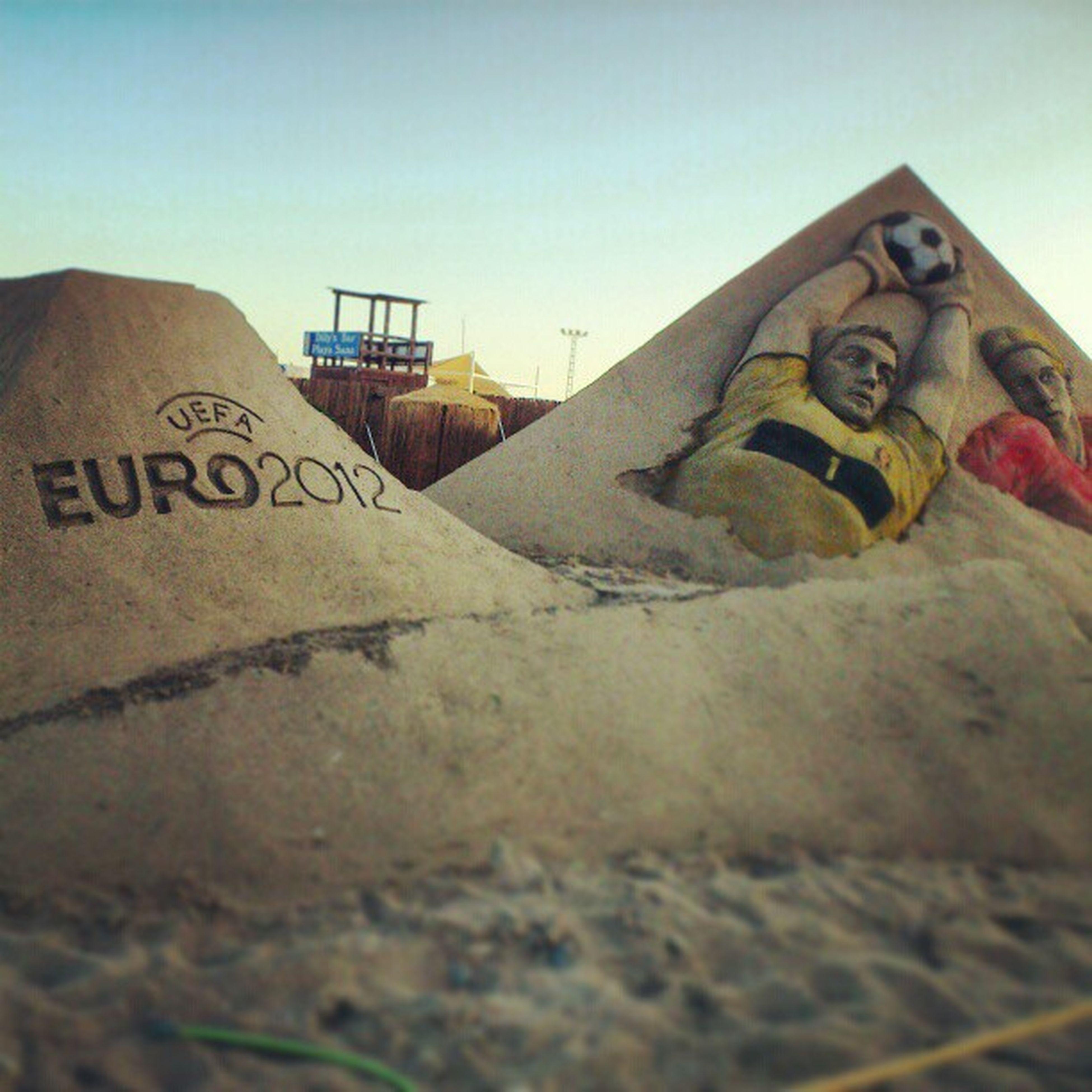 UFEA Euro 2012 Sand sculpture , the joy of a country red passion , la alegria de un país roja pasión , by pavel mylnikov and bagrat stepanyan , done at the grand_sand grandsand playa_de_levante marbella spain