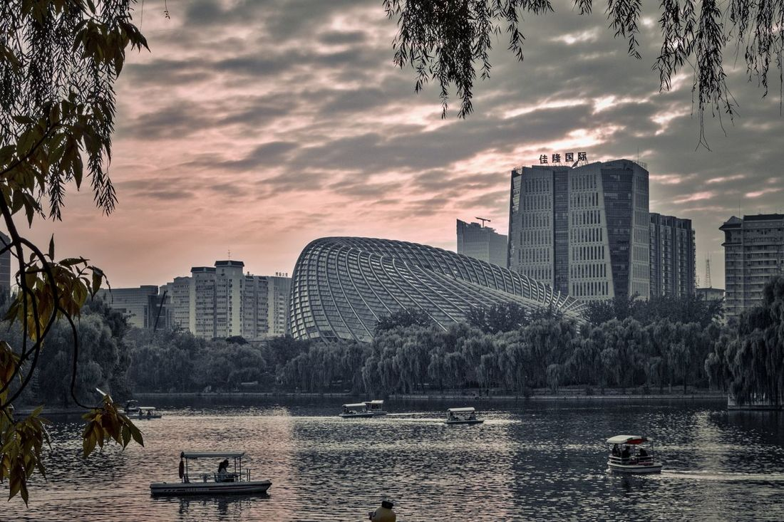 Architecture Battle Of The Cities Beijing Beijing, China Capital Cities  Chaoyang Park China City Cityscape Cityscapes Cloud - Sky EyeEm Nature Lover Eyeemphoto Eyeemphotography Lake View Landscape Modern Monochrome Photography Park - Man Made Space Sunset Urban Exploration Urban Landscape Urban Skyline Water BEIJING北京CHINA中国BEAUTY