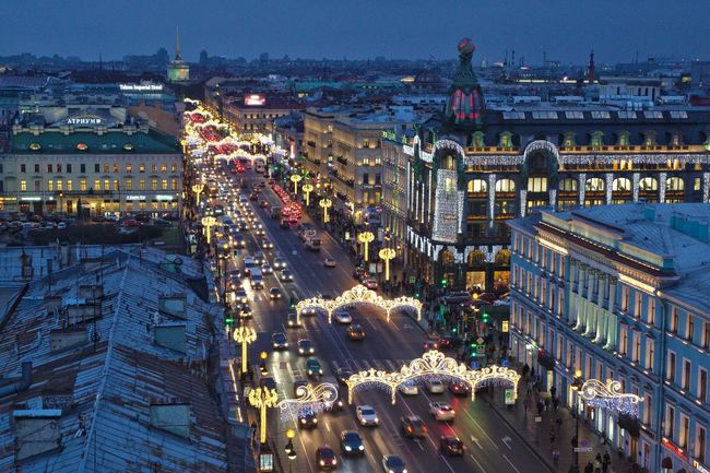 Nevsky Prospect, decorated to New Year. Architecture Christmas Lights City Decoration Garlands Illuminated Nevsky Prospect New Year Night Night Lights Perspective Prospect Saint Petersburg Street Top Perspective Twilight