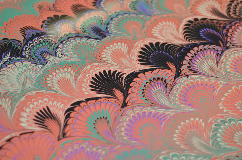 Art Close-up Creativity Marbled Paper Marbling Multi Colored Paint Paper Papercraft Peacock