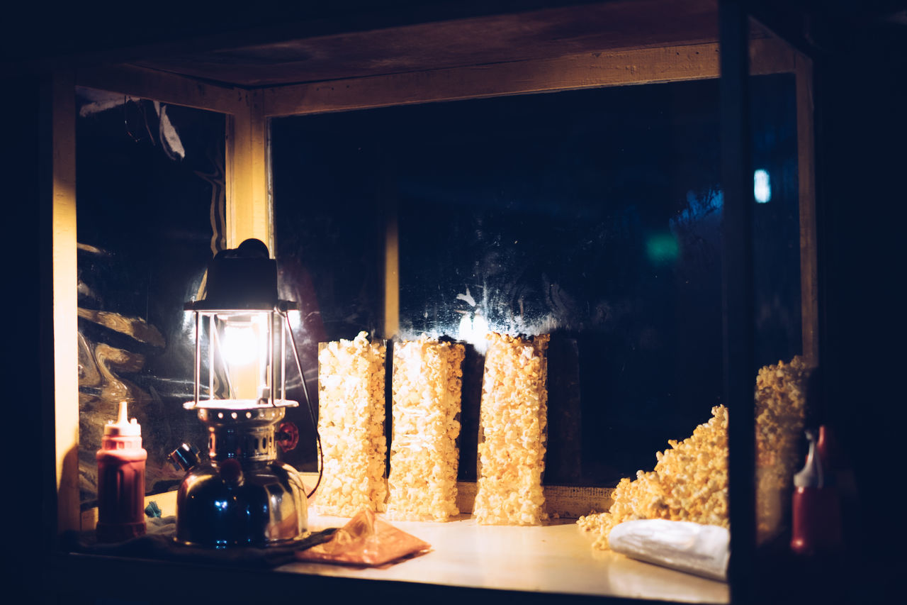 Street food: Popcorn Burning Carbohydrate - Food Type Cheese Crunchy Display Flame Food Food And Drink Food Cart Freshness Illuminated Lamp Merchandise Night Night Photography Old Fashion Popcorn Snack Stall Street Street Food Traditional Vendor
