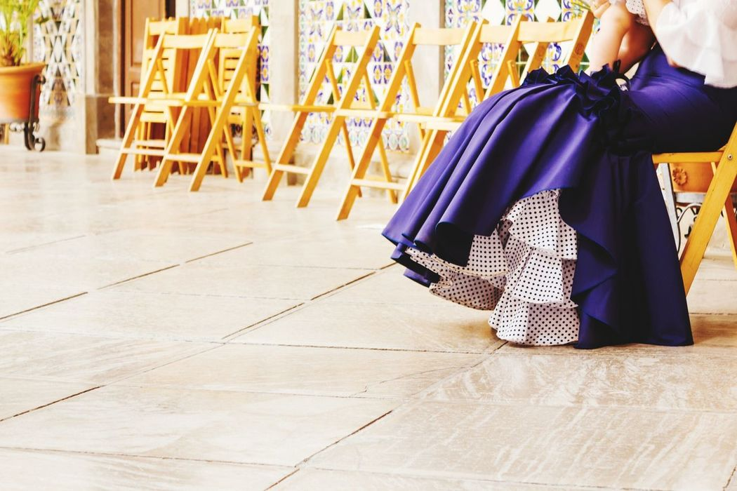 EEA3 - Granada Arte Flamenco Corpus Azul Lunares Falda Blue Vestido