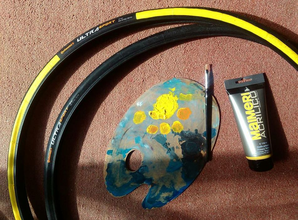 Since I can't find tires with yellow stripes, I'll paint my own tires. 🎨 Paintinmytires Continentaltransport Cycling Fixiegirl Hopeitwillhold Yellow Andtheotherone AndImDone Fun Beautiful Happy Love Life Perfect Creativity