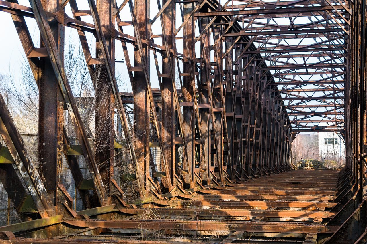 Abandoned Abandoned Places Berliner Ansichten Bridge Bridge - Man Made Structure Brown Day EyeEm Gallery EyeEmBestPics Light And Shadow Metal No People Old Old Ruin Outdoors Rust Rusty Sky Urbex