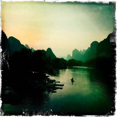 Yangshuo View Sunset Landscape Guilin River