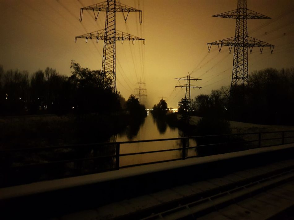 Silhouette Tree No People Night Lights Nightphotography Railroad Elektric Power Electricity  Riverside River View Industrial Area Industrial Landscapes