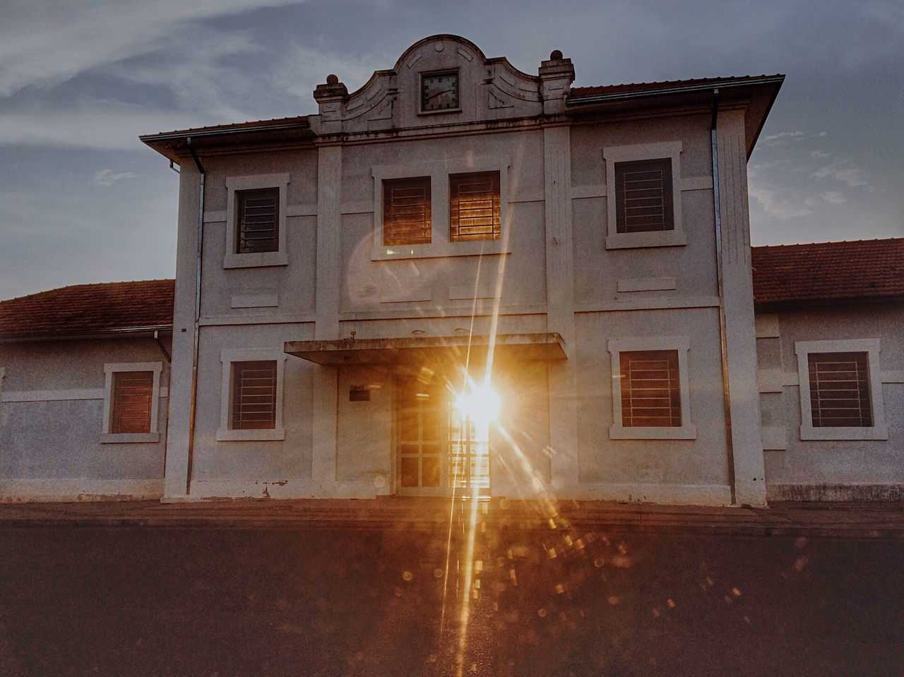 Old Railway Station Architecture Building Exterior Built Structure Sky Sunset Low Angle View No People Religion Illuminated Outdoors Sun Rail Transportation Old Buildings Railway Sunshine Sunshine Railway Window Former Antique Sunset Buildings Sunset_collection Abstract Effects Sunset #sun #clouds #skylovers #sky #nature #beautifulinnature #naturalbeauty #photography #landscape