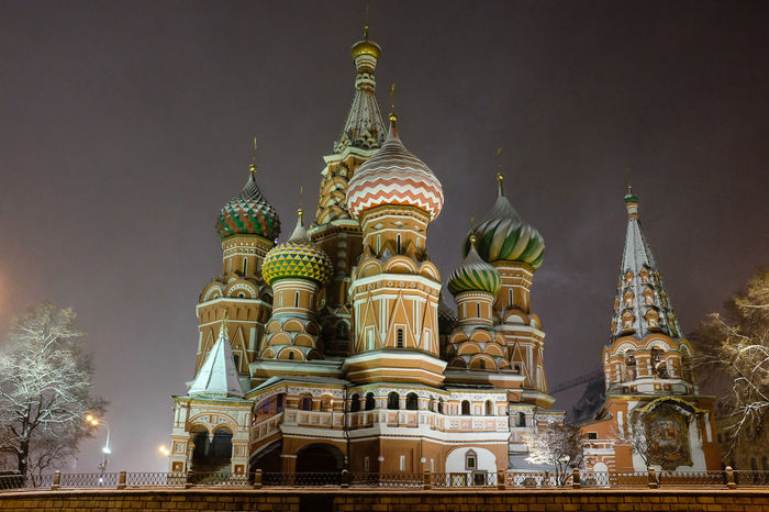 Low angle view of St Basil's cathedral in Moscow, illuminated at night Cold Weather Low Angle View Moscow Moscow City Night Lights Russia St Basil's Cathedral Architecture Building Exterior Built Structure Cold Dome Domes Gold Colored Illuminated Illumination Night No People Outdoors Place Of Worship Religion Sky Spirituality Travel Destinations