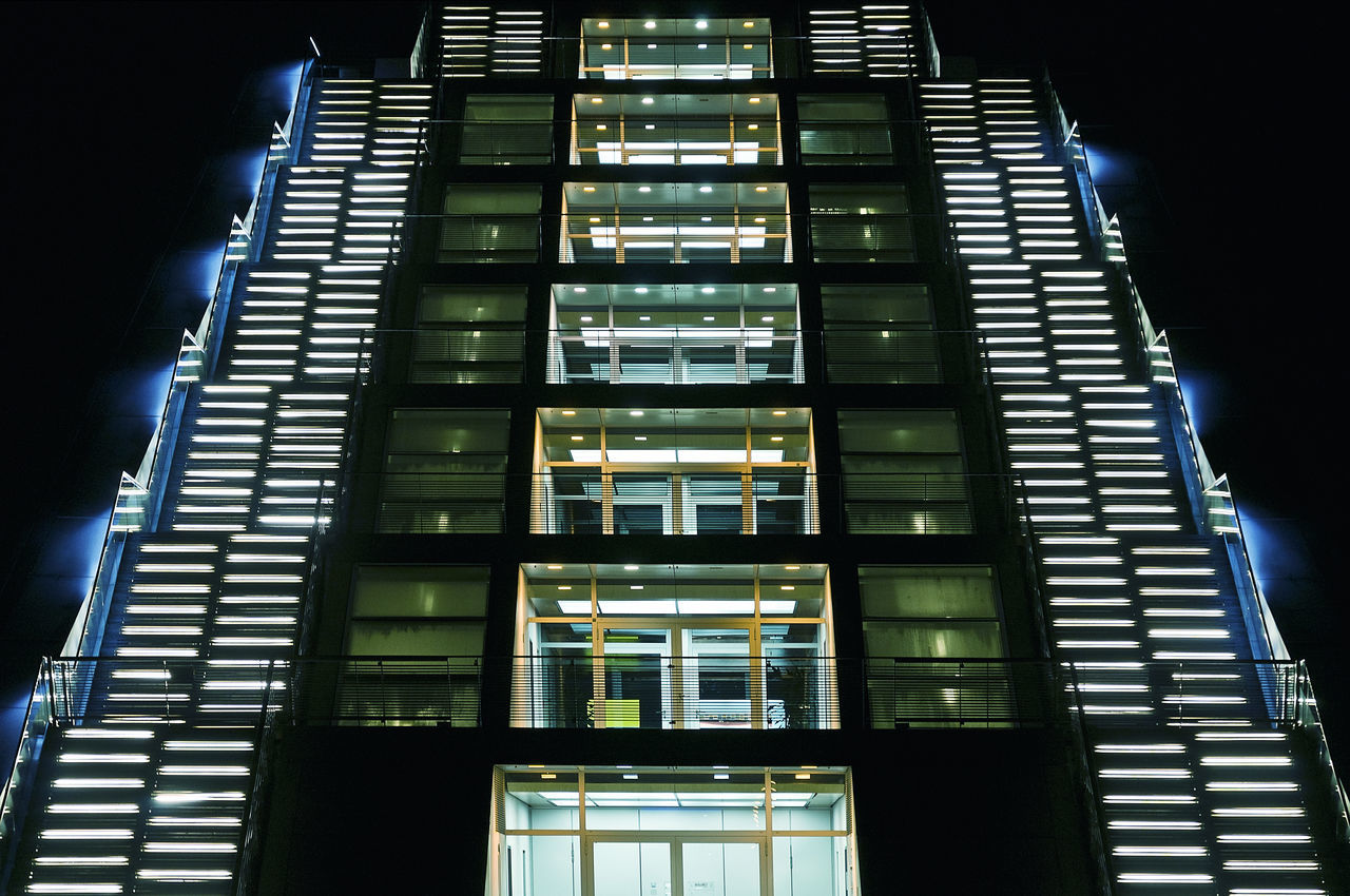 low angle view, built structure, architecture, night, illuminated, modern, no people, indoors