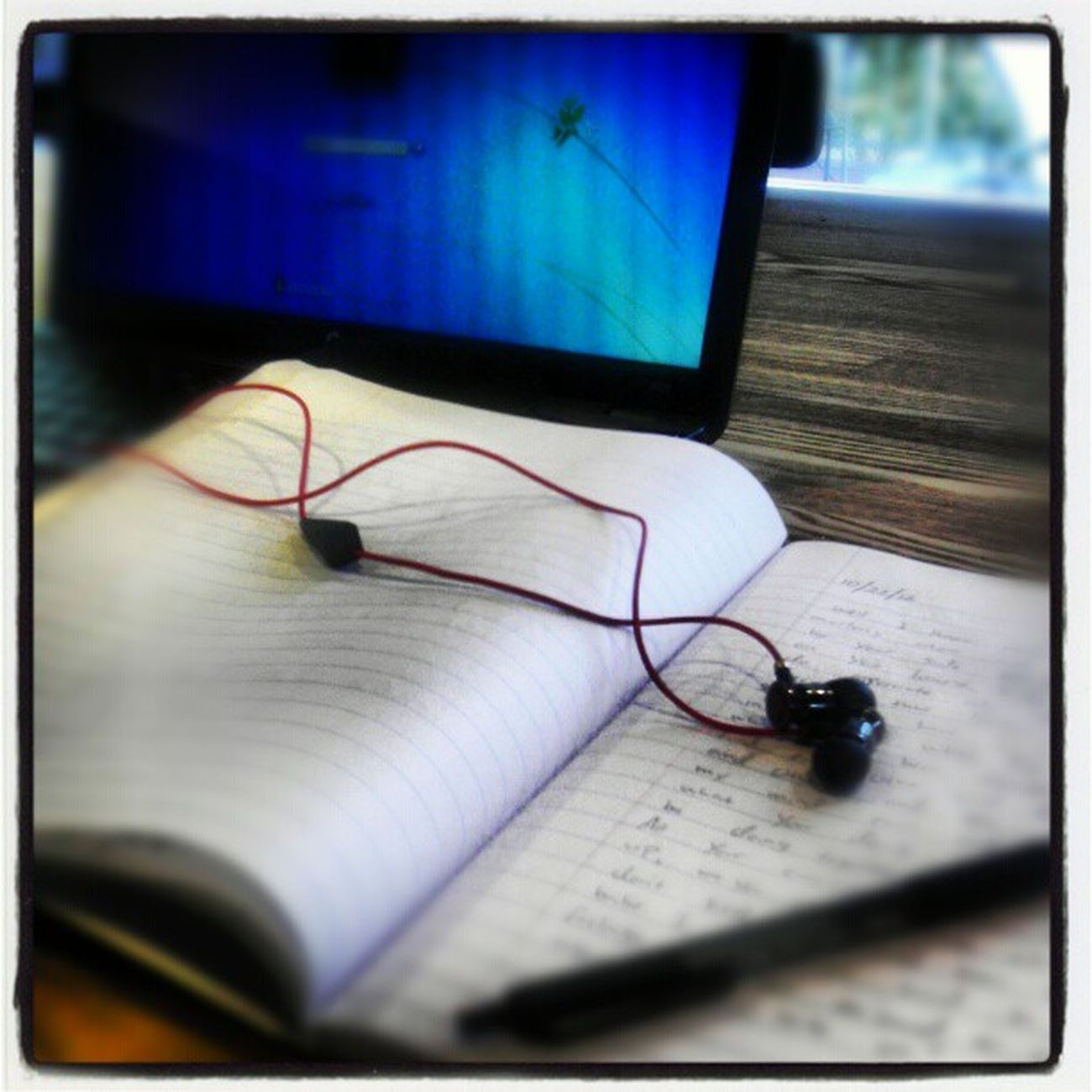 Well I'm here at Starbucks listening to Music and writing to Her in Ournotebook drdrebeats HPlaptop blackpen @peaceloveramos