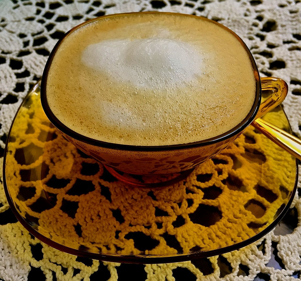 Afternoon Coffee Blissful Cafe Culture Cappuccino Close-up Coffee - Drink Coffee Culture Coffee Cup Drink Food And Drink Freshness Froth Froth Art Frothy Drink High Angle View Indoors  Latte No People Quiet Moments Refreshment Silent Moment Vintage Coffee Cups