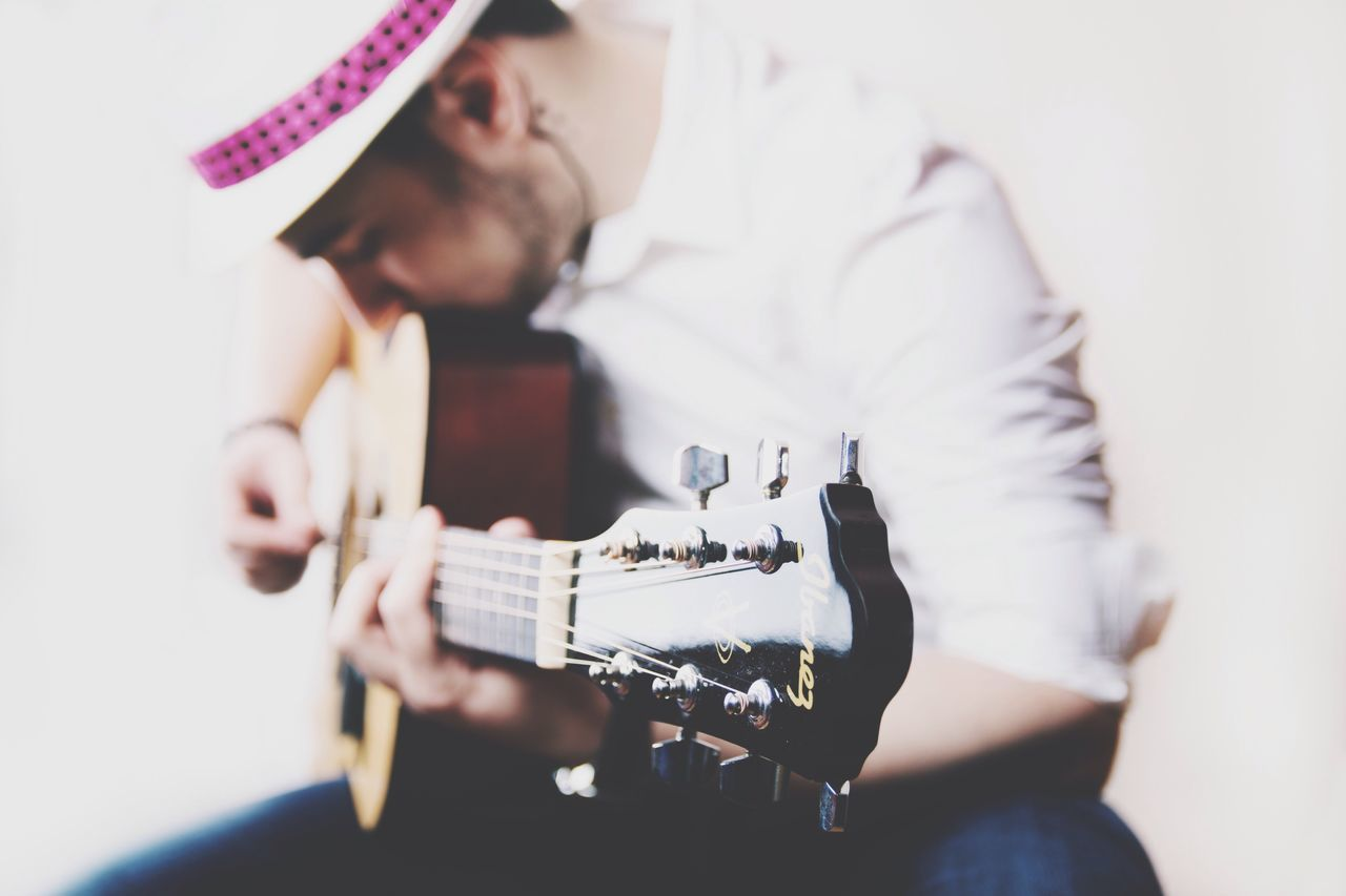 Music One Man Only Young Men Playing Musician Musical Instrument Guitar Holding Guitarist Accoustic Guitar Portrait Music