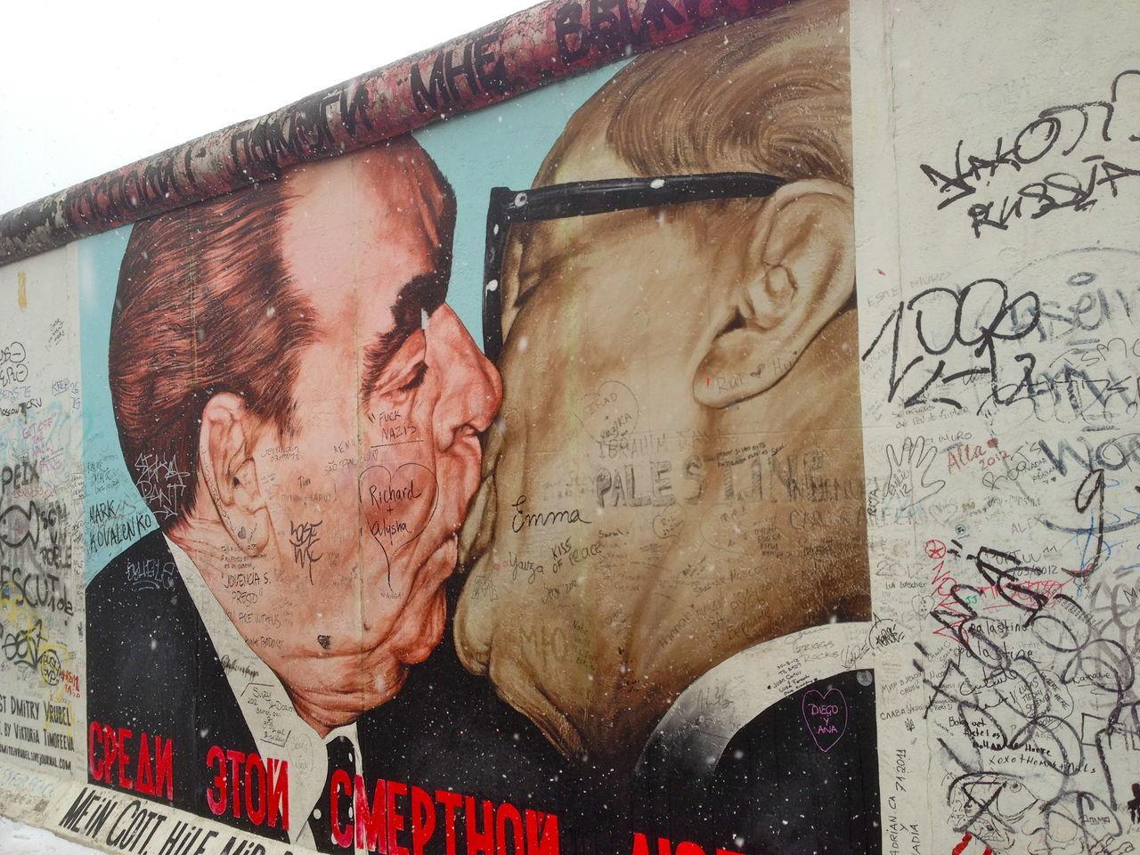 Art Battle Of The Cities Berlin Wall Close-up Creativity Culture Gorbatschow Human Representation Memories Political Street Art Poster Street Art Young Adult Fresh On Eyeem