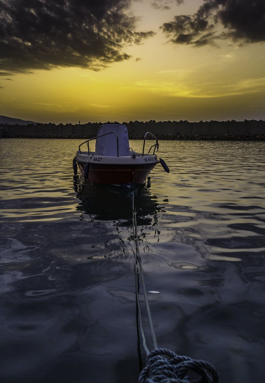 sunset, water, sky, nature, transportation, nautical vessel, cloud - sky, beauty in nature, mode of transport, outdoors, tranquility, scenics, moored, no people, sea, tree, day