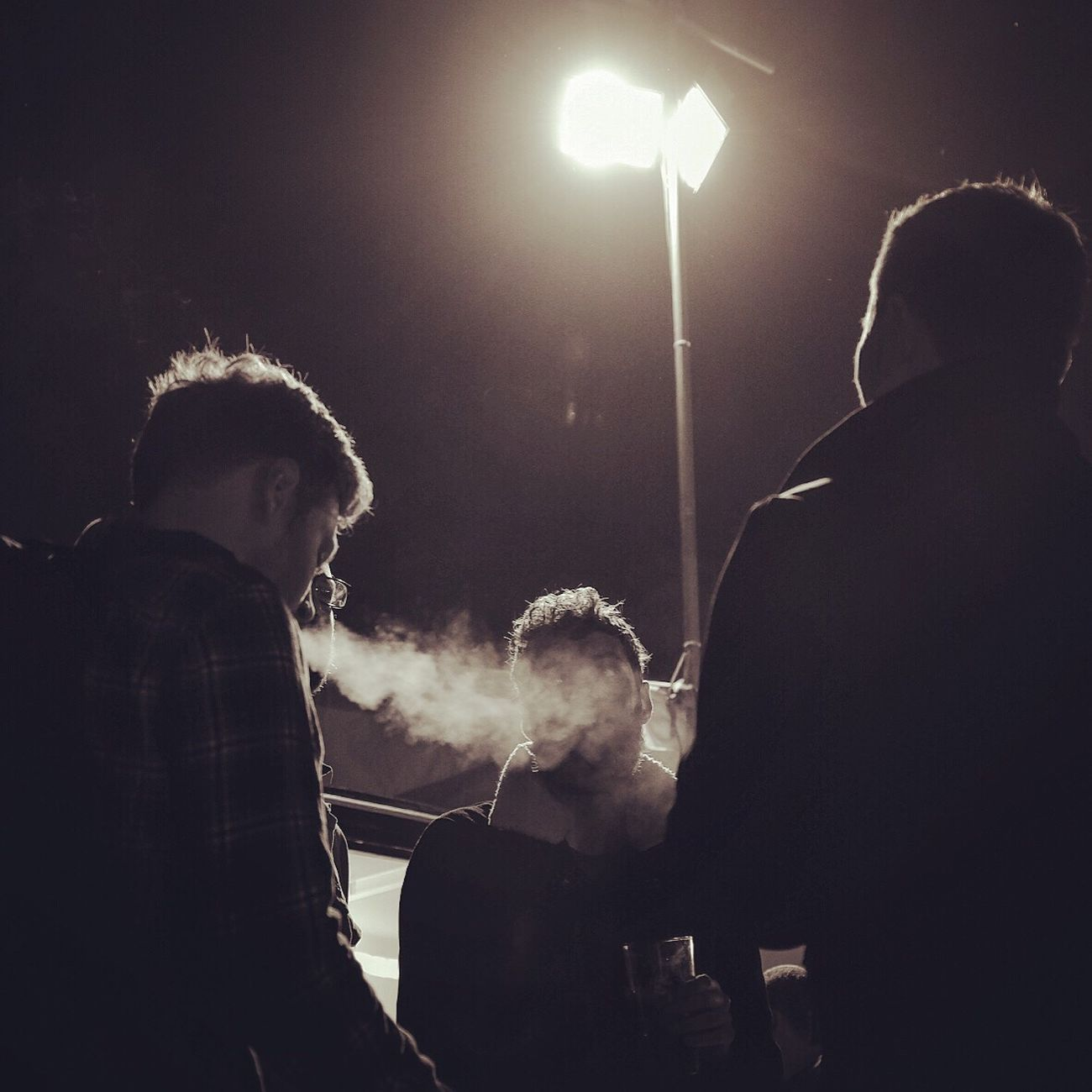 Late evening at Cambridgebeerfestival Smoke Vape Silhouette Candid Photography Sliceoflife Inthemoment Blackandwhite Photography