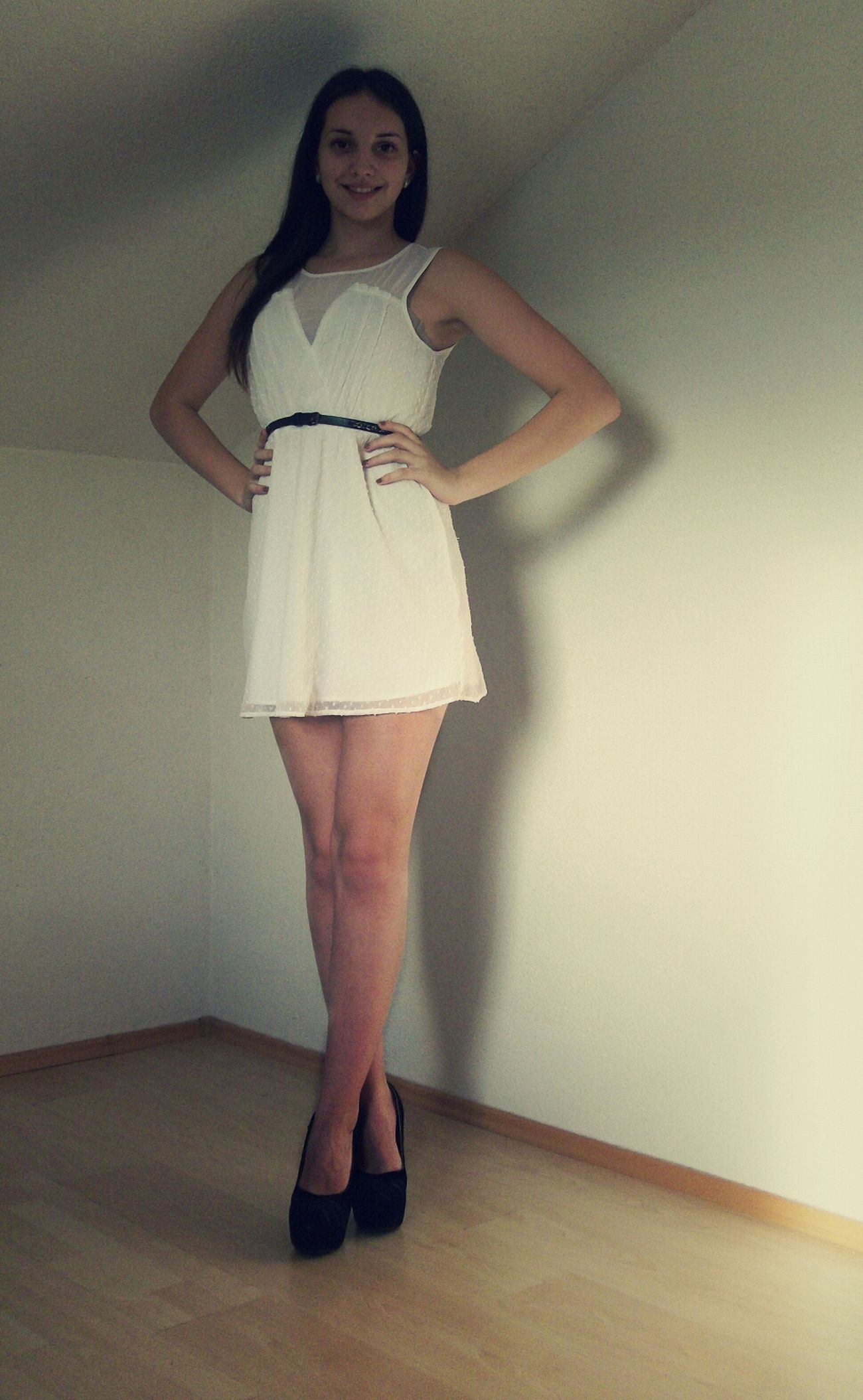 Me In A White Dress And Black Shoes