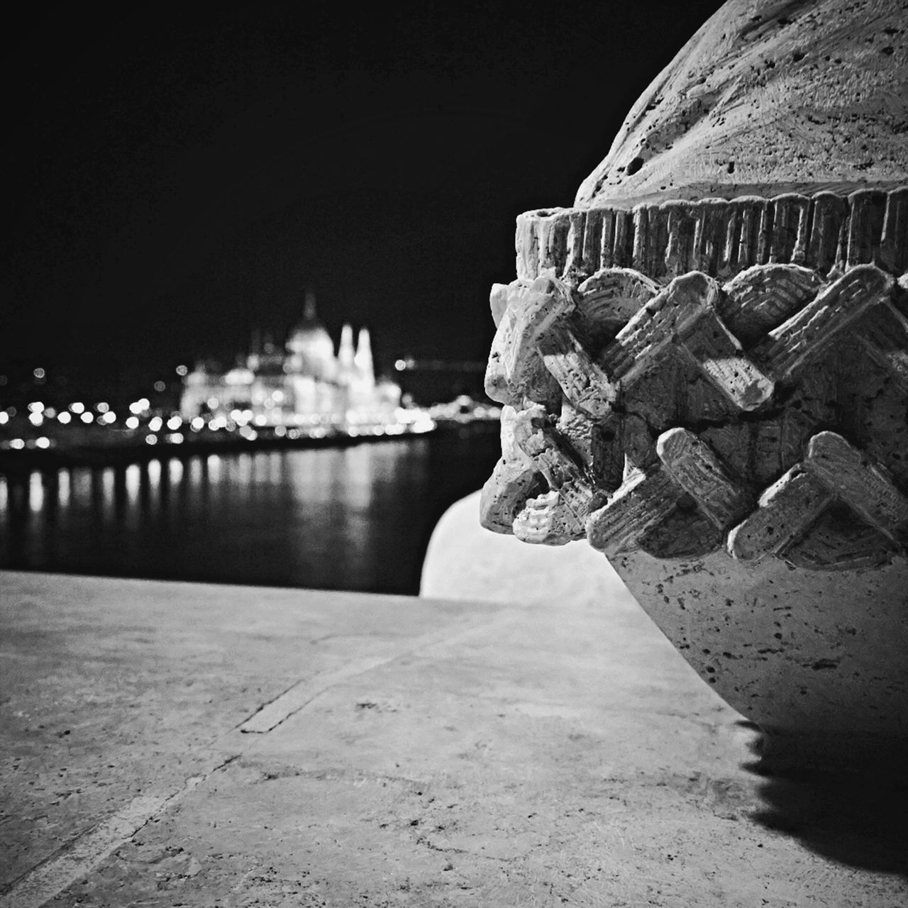 Architecture Blackandwhite Budapest Building Exterior Built Structure City Danube River Duna Focus On Foreground Hungary Margaret Bridge Margit Hid Night No People Orszaghaz Outdoors Parlament Reflection River Water Cities At Night
