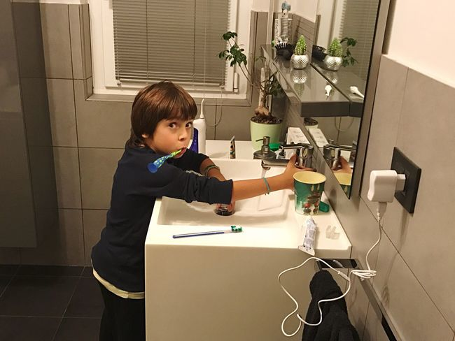 Ludo surprised while brushing his teeth One Person Indoors  Children Only Real People Day Brush Teeth Surprise