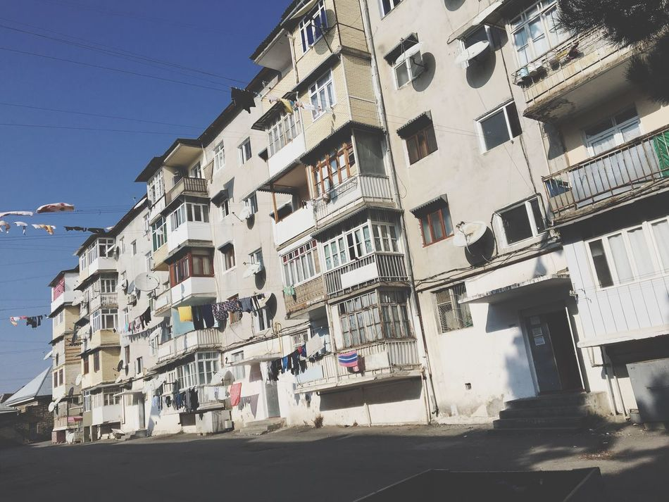 Building Exterior Sunlight Architecture Built Structure Outdoors Clear Sky Day Balcony Sky No People Road Home Town Black And White Blackandwhite Photography Azerbaijan Seki People Civilization VSCO Vscocam Vscogood EyeEm Best Shots EyeEm Nature Lover Eye4photography