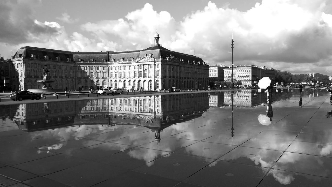 Cloud - Sky Water Outdoors No People France Reflections In The Water Bordeaux Cloudy Bordeaux Wedding MonochromeSky Day HuaweiP9 Black And White Collection  Mirroring In Water Reflection In The Water
