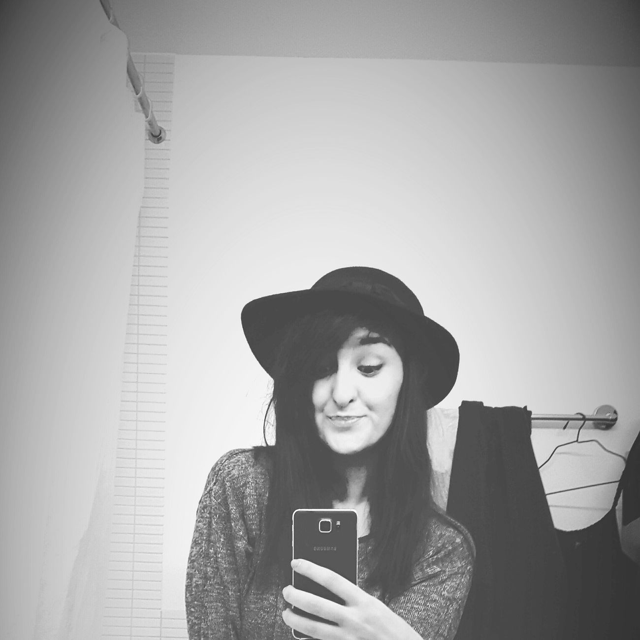 Sue Ann Selfie Bathroom Selfie Hat Blackandwhite Faces Of Sue Ann Hello World Its Me First Eyeem Photo
