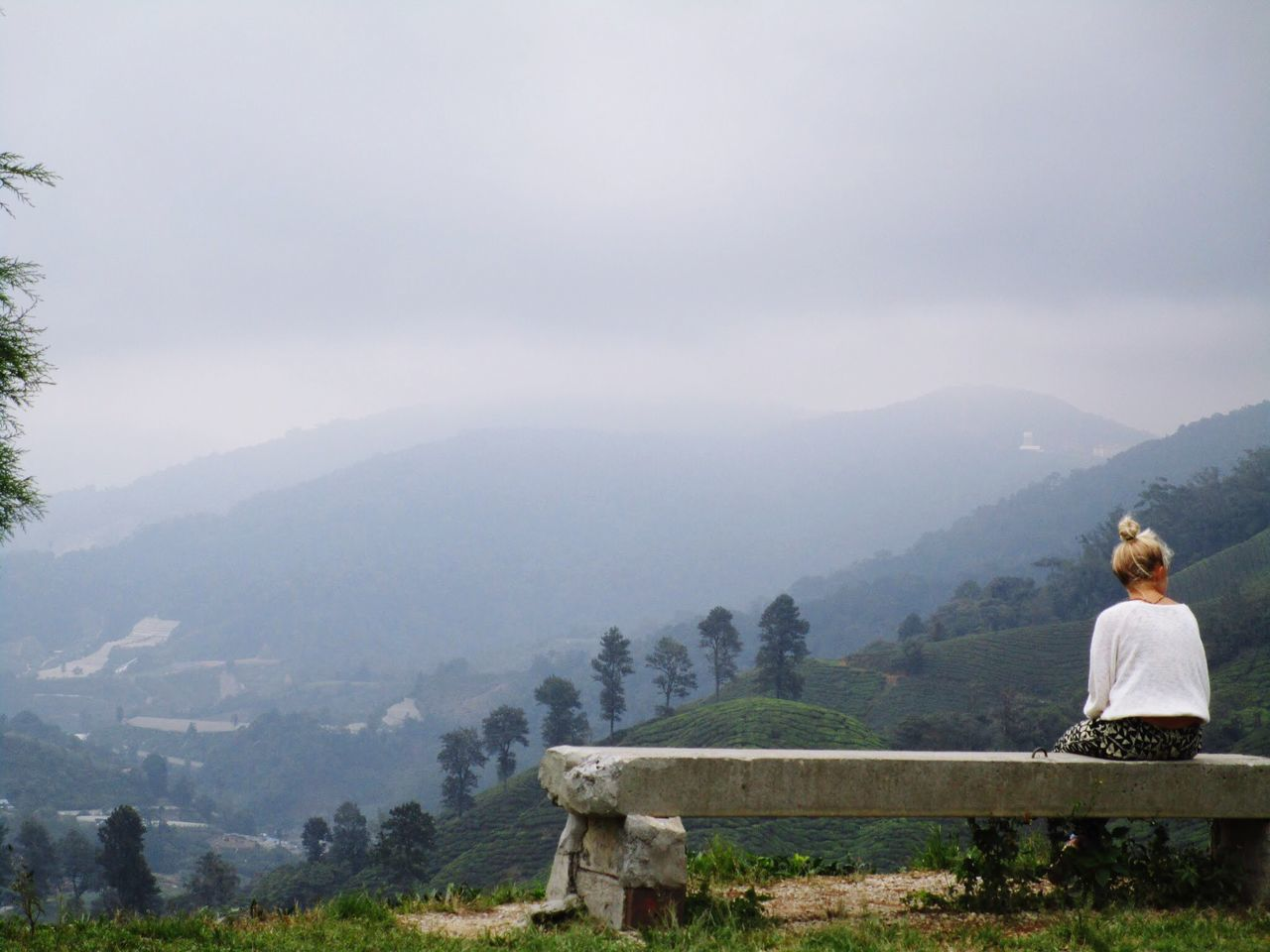 Rear View Of Woman Sitting Against Fog Covered Mountains