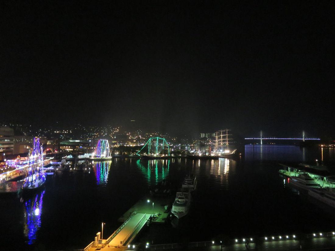 Night Sky City Illuminated No People Cityscape Outdoors Japan Photography Nagasaki Japan Ships⚓️⛵️🚢 Ship Bridge Colorful Colors Sea Nightview Night Sea Wharf Wharf Side The City Light